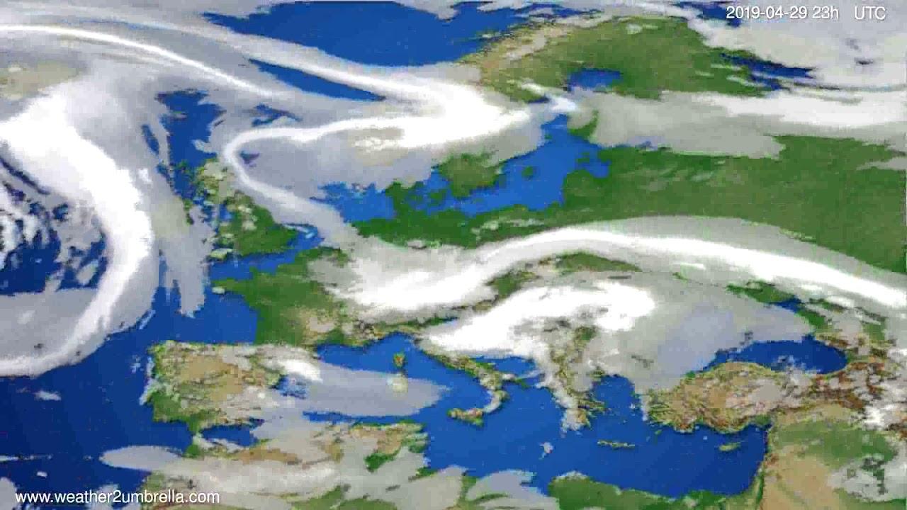 Cloud forecast Europe // modelrun: 12h UTC 2019-04-26