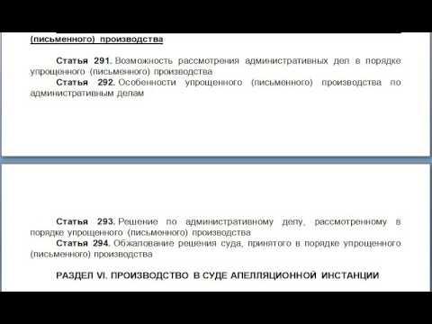 Глава 33  Рассмотрение административных дел в порядке упрощенного письменного производства, содержан