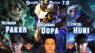 Dopa, Faker & Huni in the same TEAM - Patch 7.8 KR Ranked