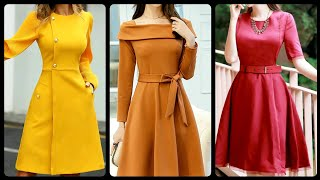 Elegant Designer Party Wear Plain Solid Color Waist Belted Skater Dresses