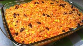 Ryż Zapiekany z Piersią Kurczaka w Sosie Pomidorowym