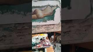 Картина женская модель с натуры масляными красками # Шорты