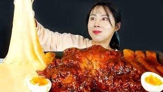 MUKBANG ASMR   Spicy Octopus🐙 Tteokbokki(Korean Rice Cakes) Eat Seafood Eatingshow Realsound 아라 Ara