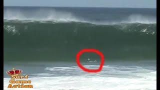 Surfer gets caught inside massive waves