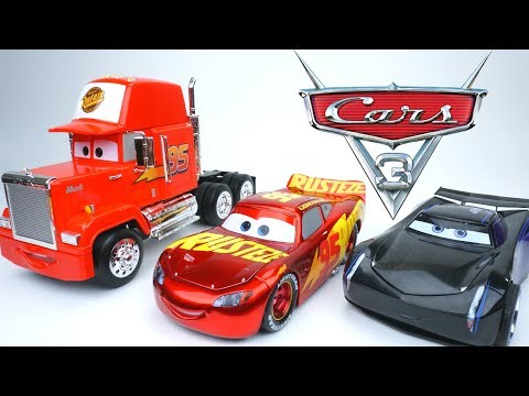 DISNEY PIXAR CARS 3 HUGE DIECAST MACK HAULER JACKSON STORM RUSTEZE RACING LIGHTING DIECAST TOYS