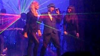 """Lauren Bennett and Chelsea Korka from the Paradiso Girls performing """"Feeling Good"""" with Matt Goss"""