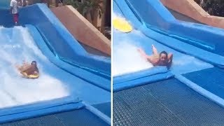 Mum stripped naked and nearly paralyzed after freak accident on wave machine