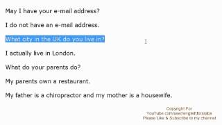 English Phrases - Information about yourself and your family- Part 4