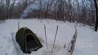 Палатка для зимней ночевки с печкой