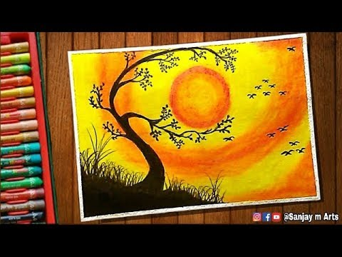 Beautiful Tree At Sunset Scenery Drawing With Oil Pastels Step By