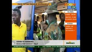 Lockdown day 2 – Security personnel Inspect vehicles - Badwam Afisem on Adom TV (31-3-20)