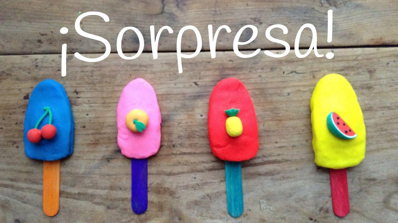 PALETAS Play Doh con sorpresa | Juguetes SORPRESA en español