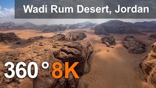 360 video, Wadi Rum Desert, The Valley of the Moon, Jordan. 8K aerial video