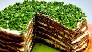 Печеночный торт с омлетом.