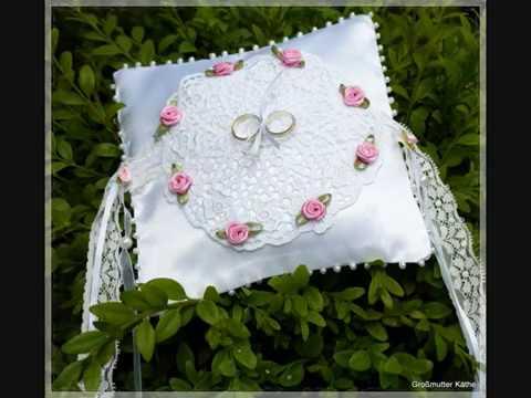 Ringkissen zur Hochzeit mit Erinnerungsdeko an Oma nähen für Anfänger