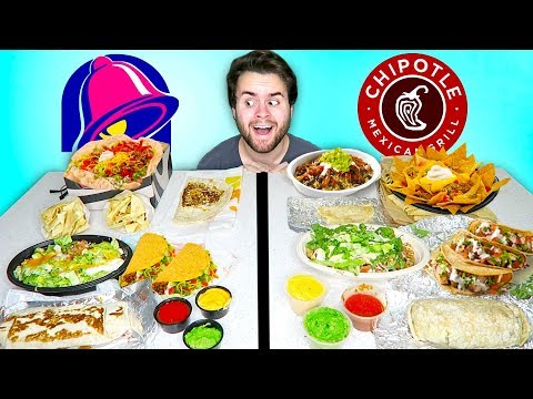 TACO BELL vs. CHIPOTLE! – The Whole Menu! Fast Food Taste Test