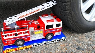 Crushing Crunchy & Soft Things By Car! - EXPERIMENT: FIRE TRUCK VS CAR By Crazy Factory