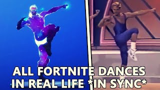 ALL *NEW* FORTNITE DANCES IN REAL LIFE! (Living large and Work it out!)