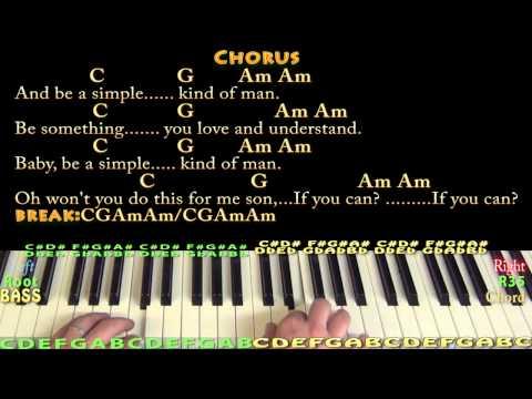 Simple Man Lynyrd Skynyrd Piano Cover Lesson With Chordslyrics Chords