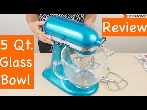 , KitchenAid KSM155GBCA 5-Qt. Artisan Design Series with Glass Bowl – Candy Apple Red