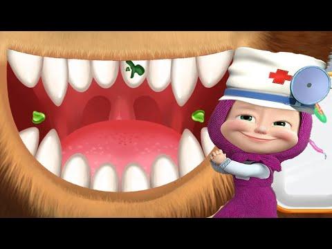 Маша и Медведь Маша Стоматолог Лечит Зубы Мишке