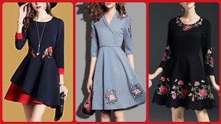 Beautiful Fit And Flare Womens Party Dress With Floral Embroidery