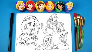 Drawing Disney Princesses with Surprise Toys Glitter Ariel Belle Jasmine Cinderella Aurora Rapunzel