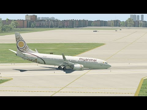 Myanmar Airplane E190 Emergency Landing With No Front Wheel (HD) | X-Plane 11
