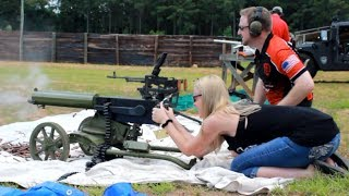 Heather Shoots The Maxim Machine Gun At The Sons Of Guns Birthday Bash!