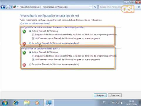 Configuración del Cortafuegos en Windows 7