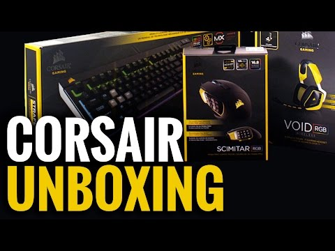 Unboxing the Corsair Scimitar Mouse, Void Headset, & Strafe Keyboard
