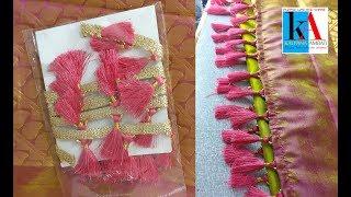 How to make latest saree kuchu/tassels using readymade saree kuchu lace stitching at home