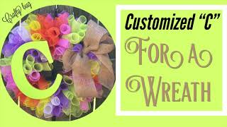 Adding Customized alpha letter to a wreath. Attaching signs & alpha letters to deco mesh wreath diy