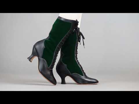 PRE-ORDER Camille Women's Edwardian Boots (Black/Green)