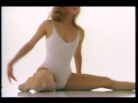 Aerobic retro 80´ girl in white leotard