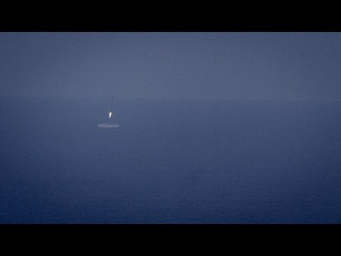 Falcon 9 ocean soft-landing footage