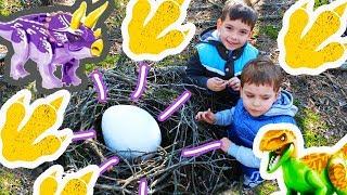 Нашли в лесу ОГРОМНОЕ ЯЙЦО ДИНОЗАВРА! Лего динозавры (аналог Lego dinosaurs) Видео для детей