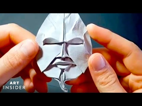 Awesome Origami Faces Folded Into Paper