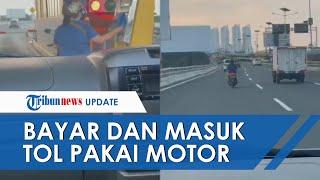 Viral Aksi Emak-emak Naik Motor Bayar dan Masuk Diduga TOL JORR, Warganet: Golongan Apa Itu?