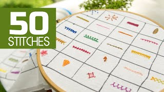 50 Hand Embroidery Stitches: Beginners Tutorials By HandiWorks
