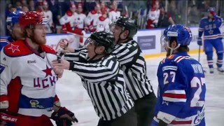 Slava Voynov confronts Ivan Telegin just before his fail of the game