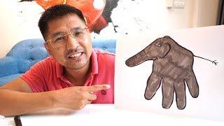 Bố Bé Bún Hướng Dẫn Vẽ Con Voi Từ Hình Bàn Tay | How To Drawing  Elephant from Your Hand