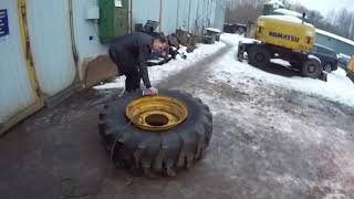💥РЕМОНТ колеса погрузчика JCB при ПОМОЩИ ВЗРЫВА 👍Одеваем 28 радиус на диск🚜🎄