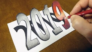 Happy New Year 2019 - Drawing 3D Number 2019 - Trick Art with Vamos