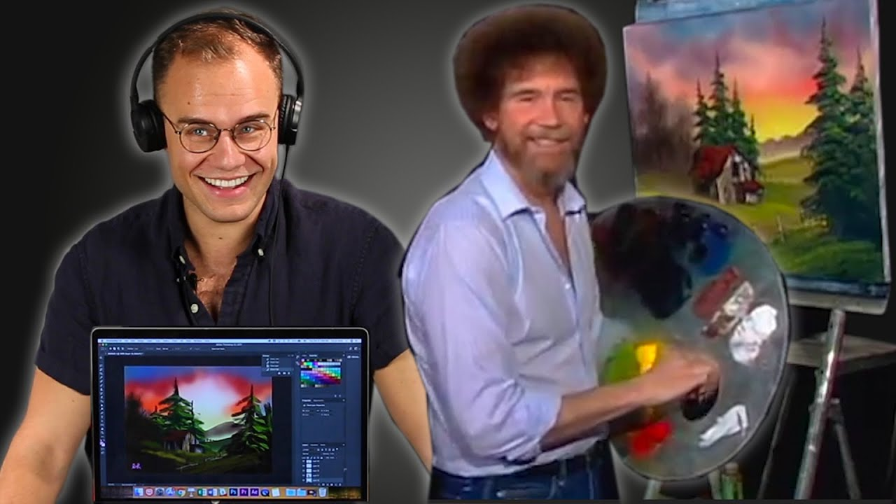 An Animator Re-Creates A Bob Ross Painting In Photoshop thumbnail