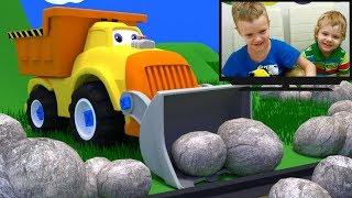 Тёма и самосвал с ковшом. Произошел каменный обвал, нужно помочь паровозу.