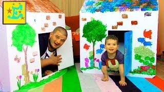 DIY Домик для Детей Разрисуй Pretend Play Fort House and Paint Playtime for children