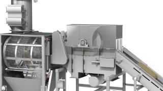 Bag Slitting System for Automated Bag Opening, Material Infeed, and Product Separation.