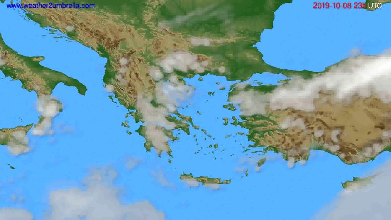 Cloud forecast Greece // modelrun: 12h UTC 2019-10-05