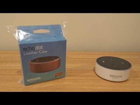 Amazon Echo Dot and leather case unboxing
